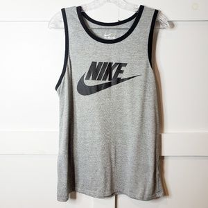 Nike Men's Gray Black Athletic Cut Tank Top Large